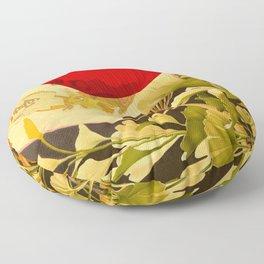 Japanese Ginkgo Hand Fan Vintage Illustration Floor Pillow