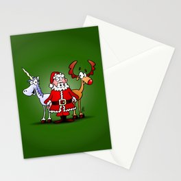 Santa Claus, his reindeer and a unicorn Stationery Cards