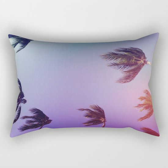 Under tall Palm trees Rectangular Pillow