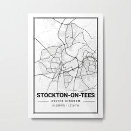 Stockton - On - Tees Light City Map Metal Print