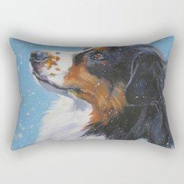 Australian Shepherd dog portrait fine art painting by L.A.Shepard Rectangular Pillow