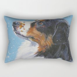 Australian Shepherd dog portrait fine art painting by L.A.Shepard Rectangular Pillow