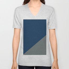 Dark blue & Metal Grey - 2 color oblique Unisex V-Neck
