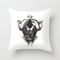 buffalo Throw Pillows featuring Buffalo  by tangledribbons