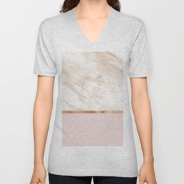 Caramel marble on rose gold blush Unisex V-Neck