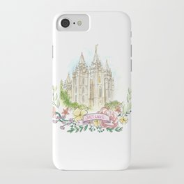 Salt Lake City LDS watercolor Temple with flower wreath iPhone Case