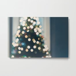 Xmas Tree Lights Metal Print