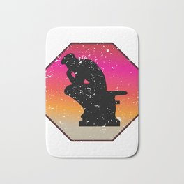 Thinker sculpture outline art philosopher gift Bath Mat