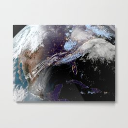 Satellite Map of USA Metal Print