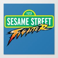 sesame street Canvas Prints featuring Sesame Street Fighter by Franz24