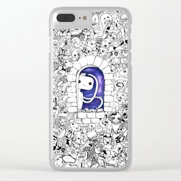 Doodle Cute Creatures Galaxy Space Clear iPhone Case