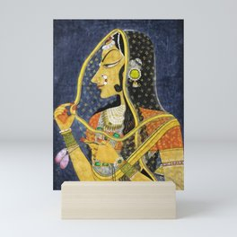 Bani Thani female portrait painting in traditional Rajasthani, the Mona Lisa of India by Nihal Chand Mini Art Print