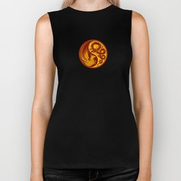 Yellow and Red Dragon Phoenix Yin Yang Biker Tank
