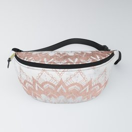 Modern chic rose gold floral mandala illustration on trendy white marble Fanny Pack