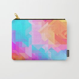 Bright Geometric Colorful Bold Abstract Pattern (Bubblegum Pink, Orange, Yellow, Cyan Blue) Carry-All Pouch