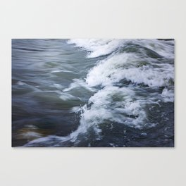 Rushing Blue Water and White Waves; water in motion  Canvas Print