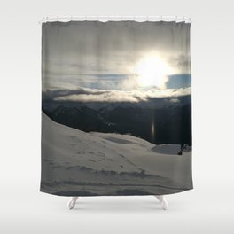 On the mountains, me and the sun, between the clouds Shower Curtain