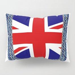 Union Jack Denim Pocket Pillow Sham