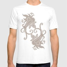 Paisley: Dark Brown Combo Mens Fitted Tee White SMALL