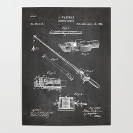 Fishing Rod Patent - Fishing Art - Black Chalkboard Poster
