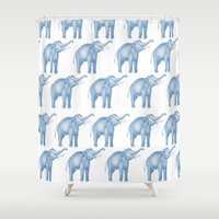 elephants Shower Curtains featuring Elephants  by Emily Lanier