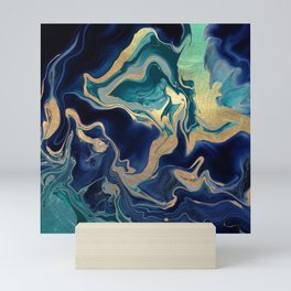 DRAMAQUEEN - GOLD INDIGO MARBLE Mini Art Print