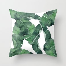 Tropical Island Leaves Throw Pillow