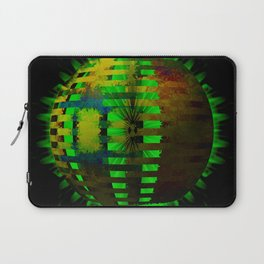 Yellow Layered Star in Green Flames Laptop Sleeve