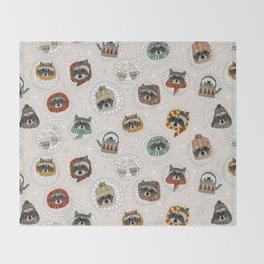 hygge raccoons Throw Blanket