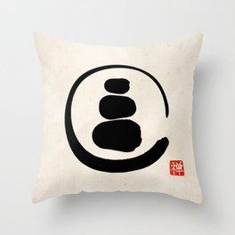 Zen Enso Circle and Zen stones Throw Pillow