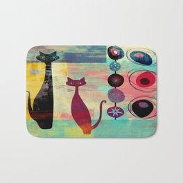 Mid-Century Modern 2 Cats - Graffiti Style Bath Mat