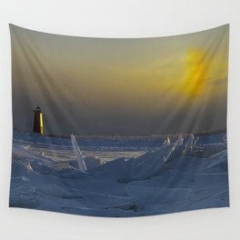 Manistique Lighthouse Sun Dog Wall Tapestry