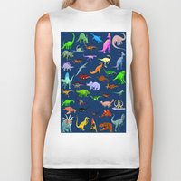 dinosaurs Biker Tanks featuring Dinosaurs by Raffaella315