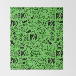 Spooky Pattern - Lime Green Throw Blanket