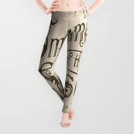 Season's Greetings Shabby Chic French Country Modern Vintage Christmas Typography Leggings