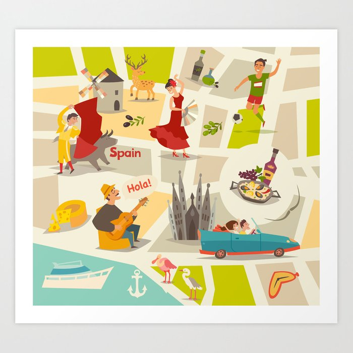 Map Of Spain For Printing.Abstract Spain Vector Map Illustrated Map Of Spain For Children Art Print By Rimma