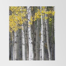 Yellow, Black, and White // Aspen Trees in Crested Butte Throw Blanket
