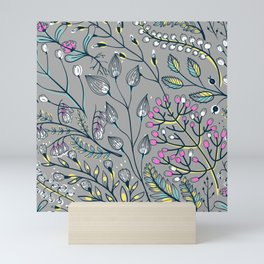 Woodland Pink and White Floral Ditsy Print On Grey Background Mini Art Print