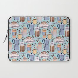 Coffee Love on Blue Laptop Sleeve