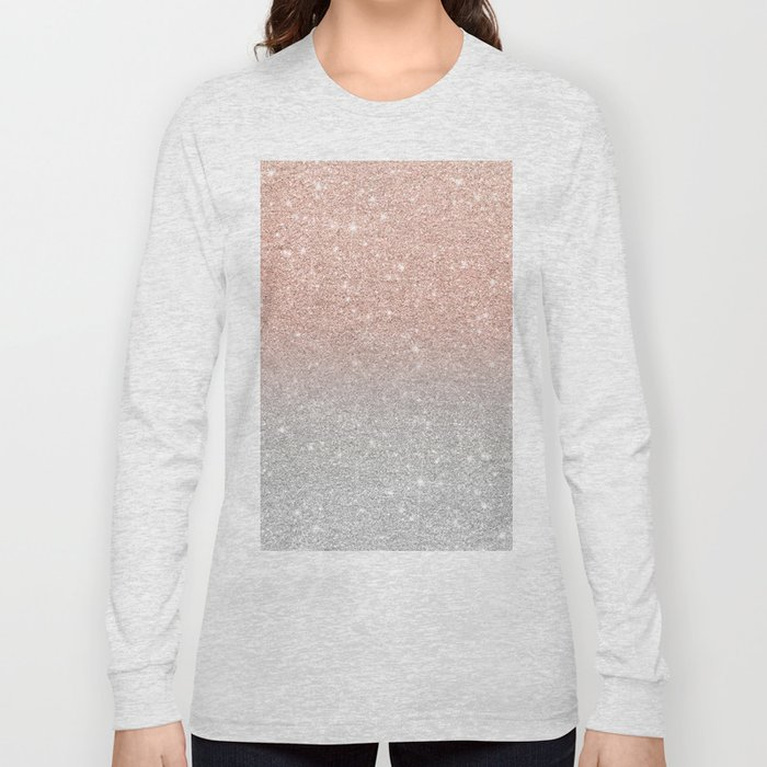 0e4a58b64519 Modern trendy rose gold glitter ombre silver glitter Long Sleeve T-shirt. by