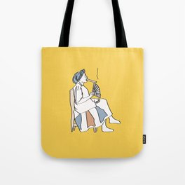 Yellow Cuban woman smoking cigar  Tote Bag