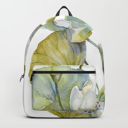 Lotus Plant and Fish Zen Design Watercolor Muted Pallet Botanical Art Backpack