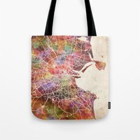 dublin Tote Bags featuring Dublin map by MapMapMaps.Watercolors