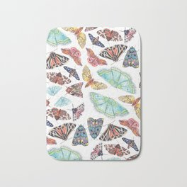 Nature Illustration of Moths Bath Mat