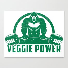 Veggie Power Vegan Muscle Gorilla - Funny Workout Quote Gift Canvas Print
