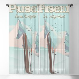 Parsenn Switzerland travel poster. Sheer Curtain