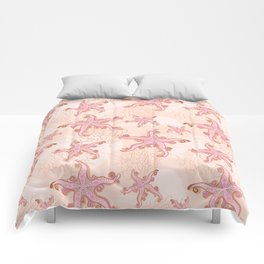 Starfish and Coral Pink Pastel Pattern Comforters