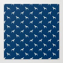 Vizsla minimal basic navy and white dog pattern dog art pet portraits dog breeds Canvas Print