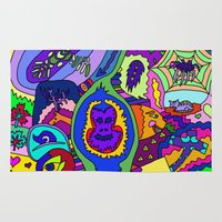 psychadelic Area & Throw Rugs featuring Abstract 18 by Linda Tomei