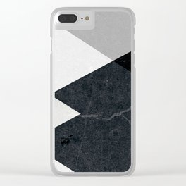 Geometrics - marble & silver Clear iPhone Case